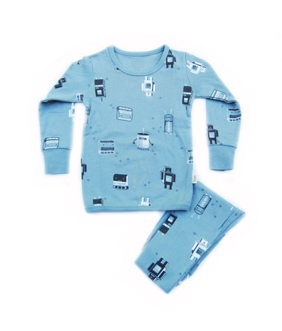 Toddler Boy's Vintage Robot Organic Long Sleeve Pajamas - Bonjour Bear 4T