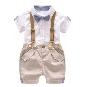 Baby and Toddler Boy's White and Khaki Bow Tie Suspender Set - Bonjour Bear 12M to 4T
