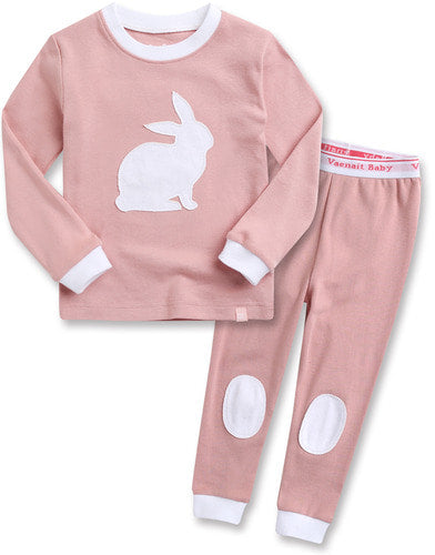Toddler Girl's White Bunny Rabbit Pink Long Sleeve Pajamas 12M to 5T