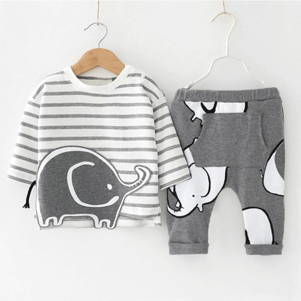 Baby Infant Boy's Gray Elephant Striped Long Sleeve Top and Pants Set 6-12M - Bonjour Bear