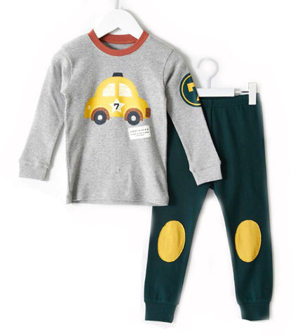 Toddler Boy's Yellow Car Long Sleeve Pajamas - Bonjour Bear 2T to 3T