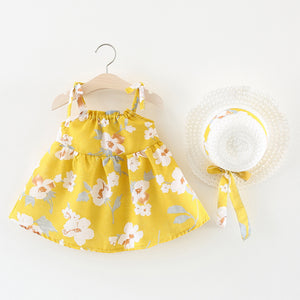 Baby Girl's Yellow Floral Sleeveless Dress - Bonjour Bear 6M to 24M