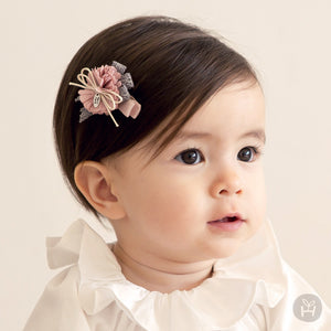 Toddler Baby Girl's Yoel Pink Flower Ribbon Hair Pin 3-24 Months Bonjour Bear