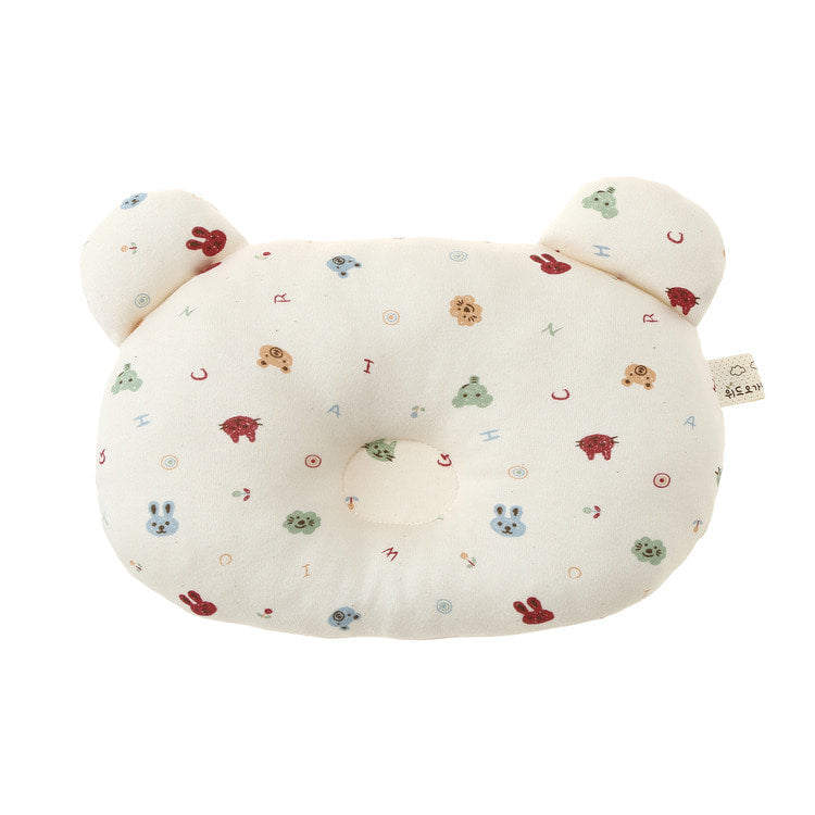 Bear Shaped Organic Baby Pillow with Colorful Animal Face Print - Bonjour Bear