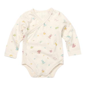 Newborn Infant Baby Crayon Animal Organic Korean Kimono Bodysuit Onesie 3-9M - Bonjour Bear