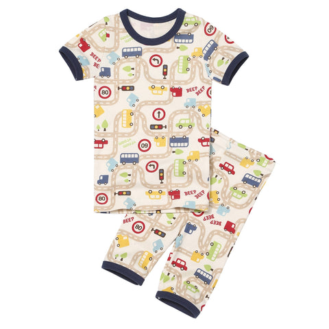 Driver Car Organic Short Sleeve Korean Pajamas for Toddler Boys 12M-5T - Bonjour Bear