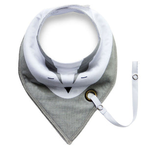 Gray Animal Bandana Scarf Bib for Babies and Toddlers with Pacifier Strap - Bonjour Bear