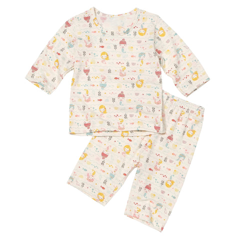 Mermaid Organic 3/4 Sleeve Lightweight Korean Pajamas for Toddler Girls 12M-3T - Bonjour Bear