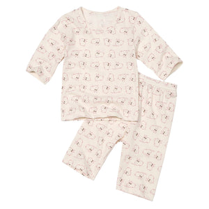 Baby and Toddler Rabbit Organic 3/4 Sleeve Pajamas - Bonjour Bear 12M to 3T