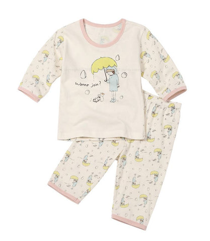 Toddler Girl's Rainy Day Organic 3/4 Sleeve Pajamas - Bonjour Bear 12M to 3T