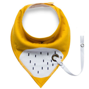 Yellow Animal Bandana Scarf Bib for Babies and Toddlers with Pacifier Strap - Bonjour Bear