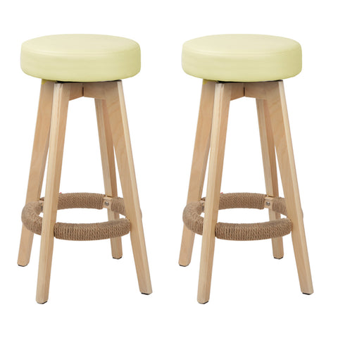 Dela Set of 2 PU Leather Round Bar Stool Cream