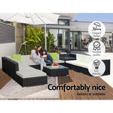 Gardeon 12PC Outdoor Wicker Sofa Set with Storage Cover