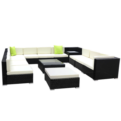 Gardeon 13PC Outdoor Wicker Sofa Set with Storage Cover