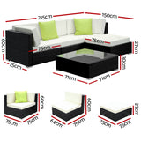Gardeon 5PC Outdoor Wicker Sofa Set with Storage Cover