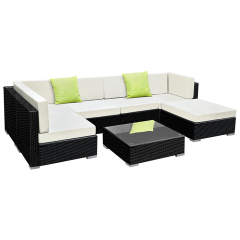 Gardeon 7PC Outdoor Wicker Sofa Set with Storage Cover