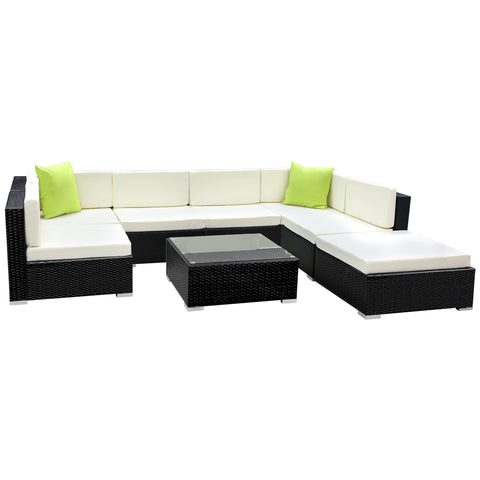 Gardeon 8PC Outdoor Wicker Sofa Set with Storage Cover