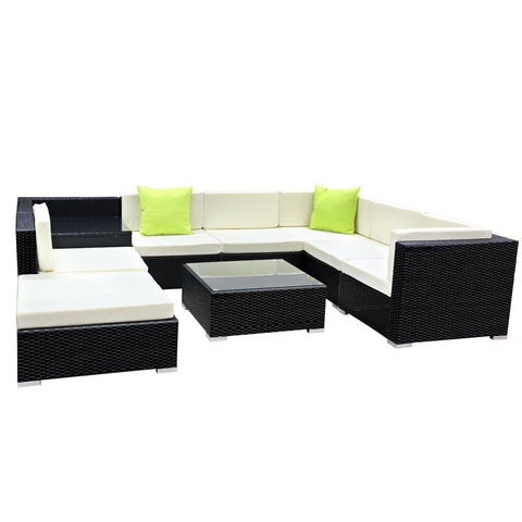 Gardeon 9PC Outdoor Wicker Sofa Set with Storage Cover