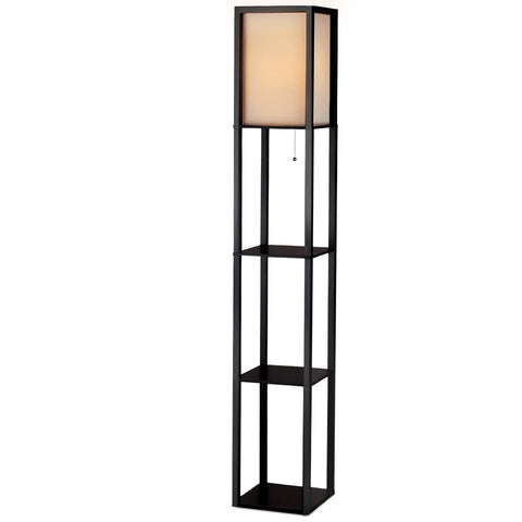 Artiss Led Floor Lamp Shelf Vintage Wood Standing Light Reading Storage Bedroom