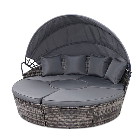 Outdoor Day Bed Lounge Setting Wicker Rattan Grey