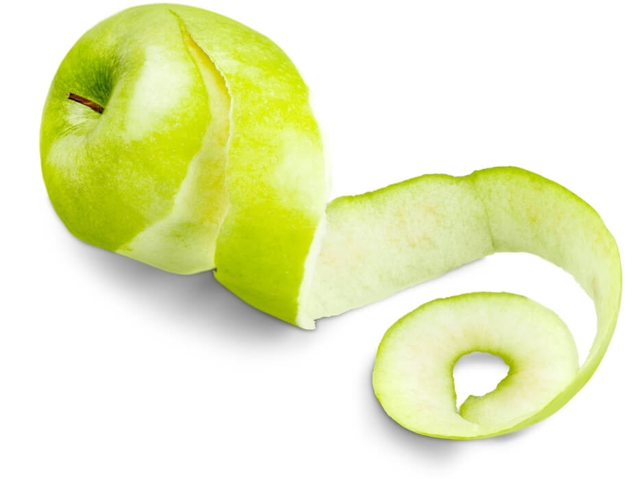 apple peel for inflammation on white background