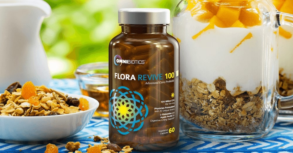 flora revive probiotic supplement 100 billion cfu capsules omnibiotics 3D render