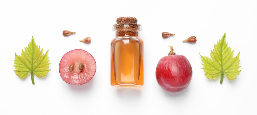 grape, grapeseed, and oil for gallbladder health on white background