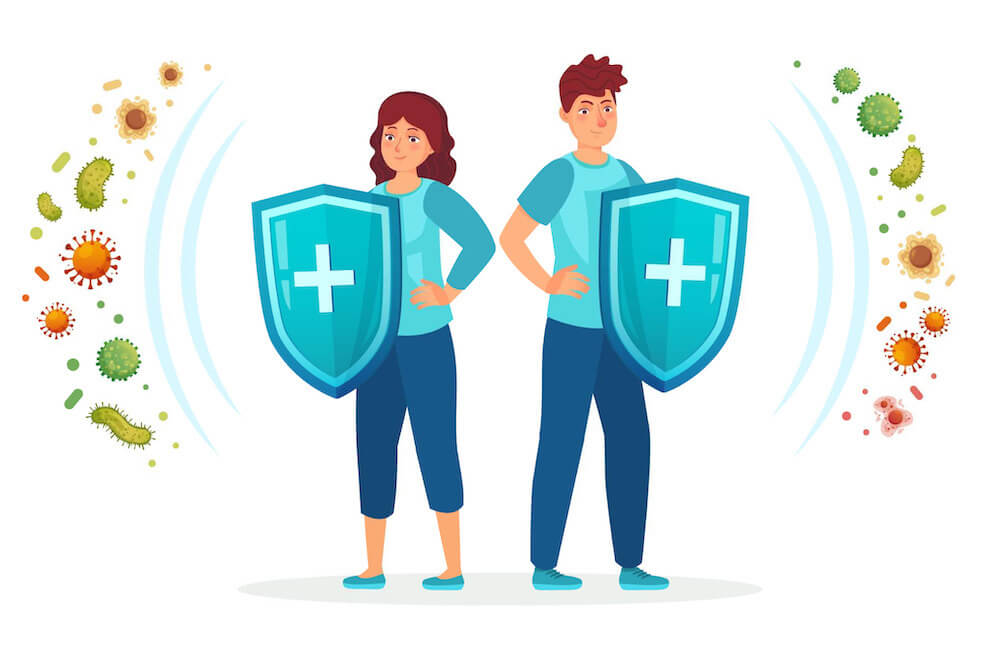man and woman with shields and swords fighting germs animation