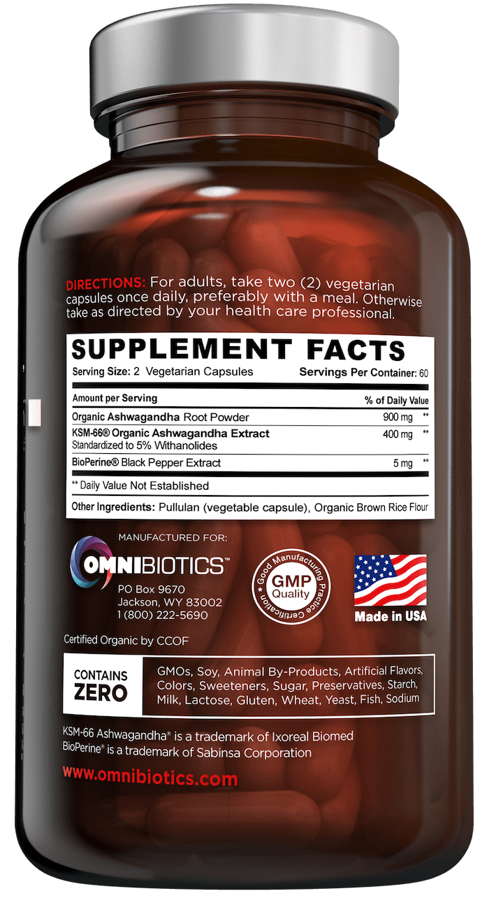 Certified organic ashwagandha supplement facts with KSM-66 and 120 vegan capsules by OmniBiotics