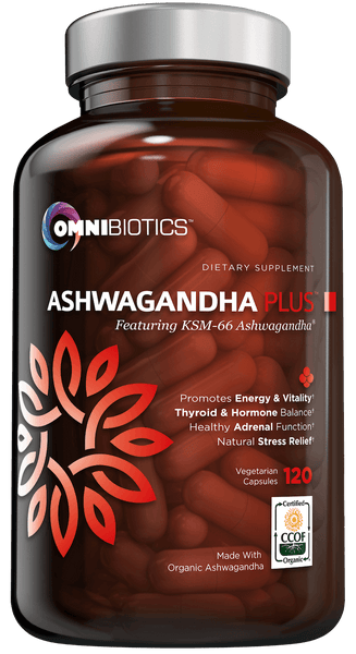 Certified organic ashwagandha supplement with KSM-66 and 120 vegan capsules by OmniBiotics