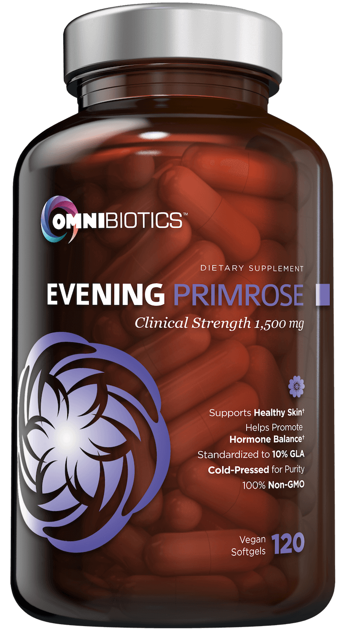 Organic evening primrose oil supplement with cold-pressed extract and 120 vegan capsules by OmniBiotics