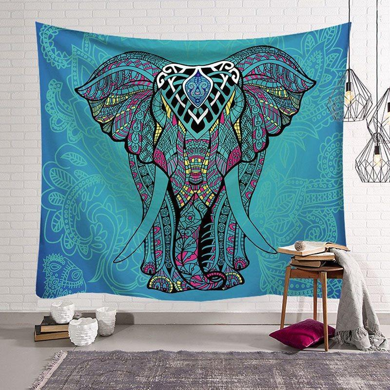 Elephant Tapestry Vintage Blue Old Wooden Plank Tapestry Wall Hanging