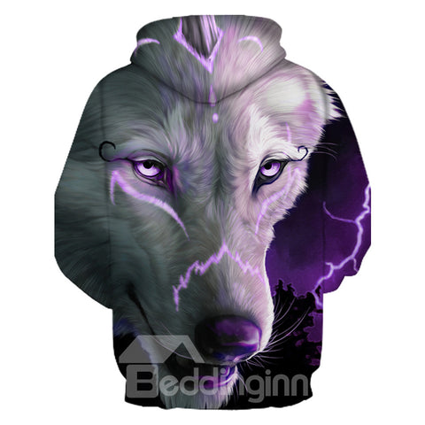 Sweat-shirt 3D à Capuche Imprimé Loup Pourpre Cool