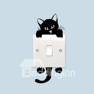 Autocollant Mural Amovible De Switch De Lampe Imprimé Un Chat Noir