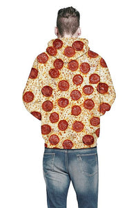 Sweat-shirt A Capuche Pizza Gourmand 3D Imprimé