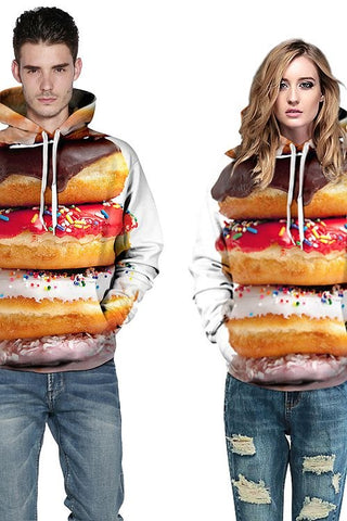 Sweat-shirt A Capuche 3D Imprimé Colorés Les Donuts Gourmands