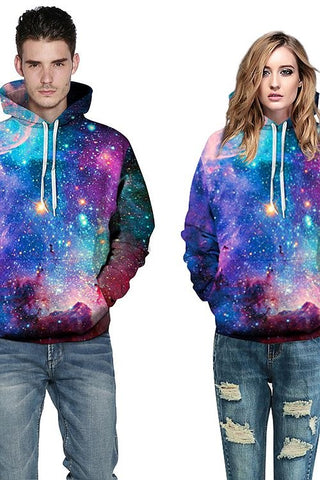 Sweat-shirt A Capuche Galaxie Belle Coloré 3D Imprimé