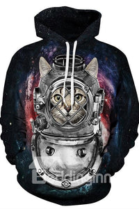 Sweat-shirt A Capuche 3D Unique Imprimé Chat Astronaute