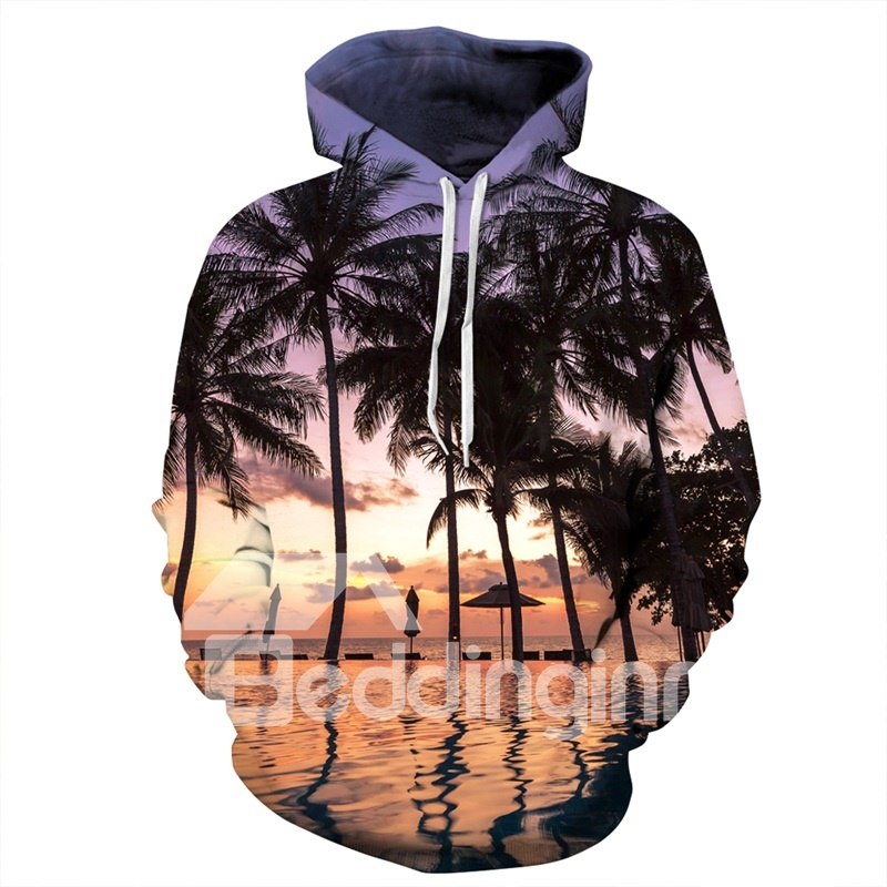 Galaxie Sweat-shirt A Capuche Paysage Nuit Tombante Confortable 3D Unisexe