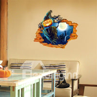 58*68.5CM Sticker Mural 3D Imprimé Citrouilles Terribles En Design De Halloween
