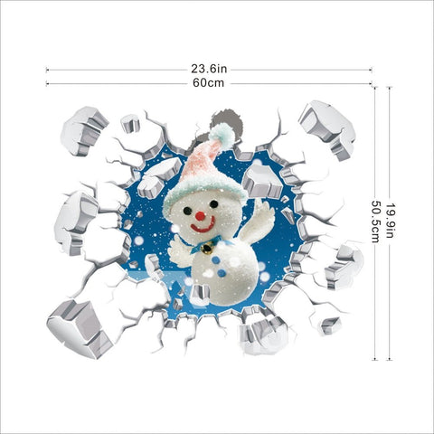Sticker Mural 3D Christmas Autocollant DIY Papier Imperméable Homme De Neige