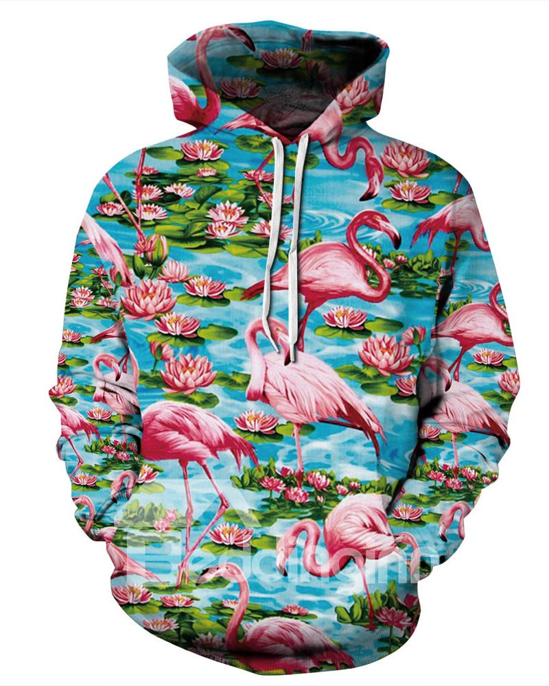 Sweat-shirt 3D A Capuche avec Flamants et Lotus Pull Unisexe Beau
