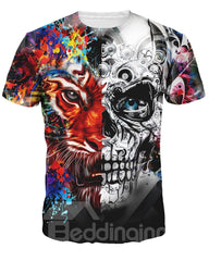 T-shirt 3D Imprimé Animal Coloré