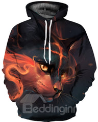 Sweat-shirt 3D Imprimé Loup Rouge