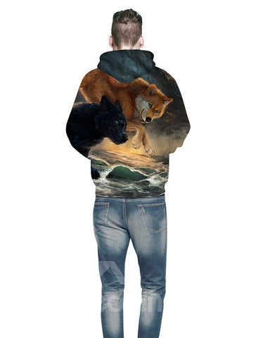 Sweat-shirt 3D Imprimé Loup Sautant