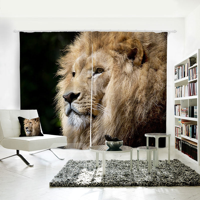 Rideau 3D Animal Imprimé Lion Brave