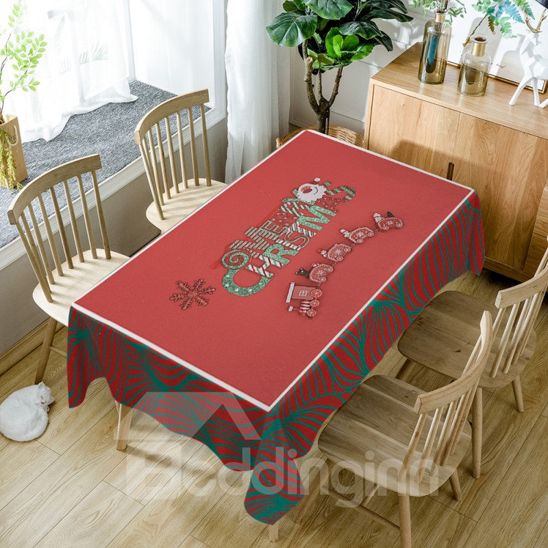 Nappe Rectangulaire Simple Imprimée Merry Christmas en Polyester