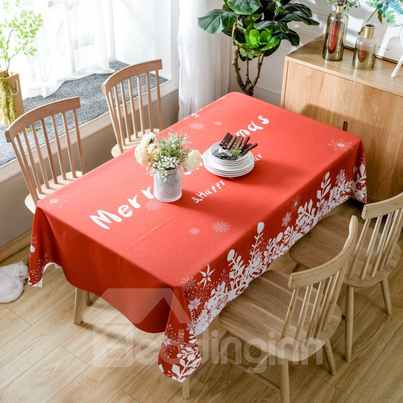 Nappe Rouge Simple Imprimée Merry Christmas en Polyester