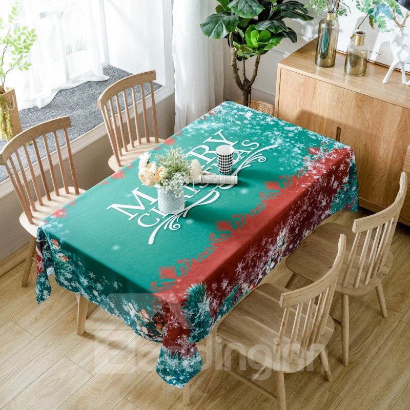 Nappe Verte Simple Imprimée Merry Christmas en Polyester