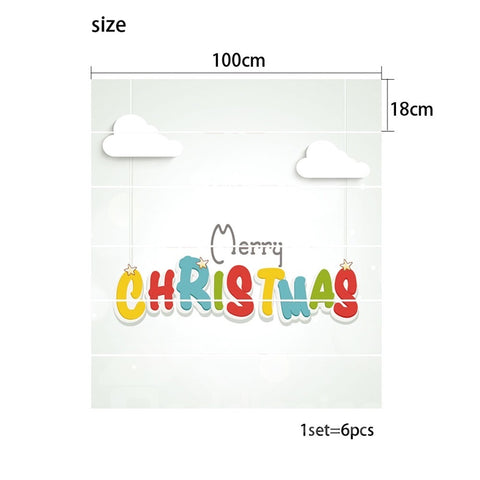 Autocollant de sol Cartoon Imprimé le Mot Merry Christmas en PVC